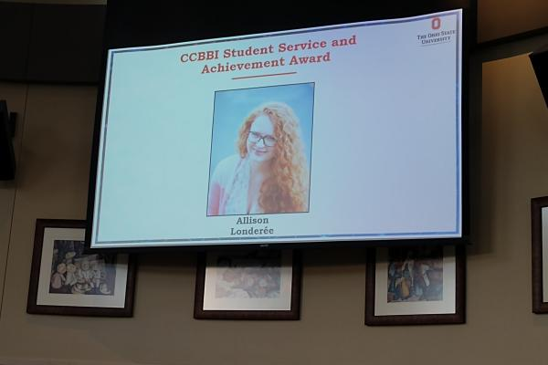 CCBBI Student Service and Achievement Award presented to Allison Londeree