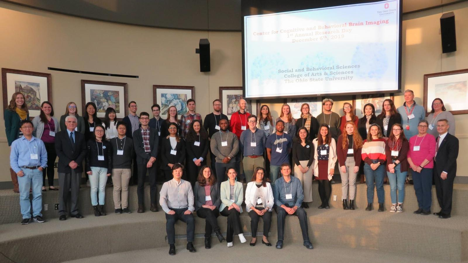 Presenters and attendees pose for a group photo at CCBBI Research Day