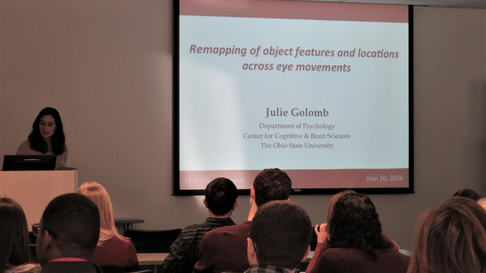 Julie Golomb presenting at a CCBBI users meeting